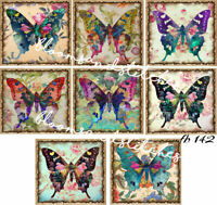 Vintage Butterflies Colorful 10 SMALL Prints on 1 Fabric Block Quilting fb 142