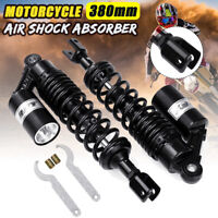 """Pair 15"""" 380mm Motorcycle ATV Rear Air Shock Absorber Suspension Clevis End"""