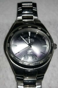 Fossil mens all stainless datejust 100m water resistant