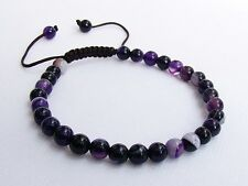 Men's GEMSTONE bracelet all 6mm NATURAL PURPLE AGATE beads