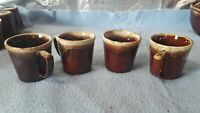 "4-Vintage McCoy Pottery USA Brown Drip Coffee Cups  Ovenproof 3.5"" D-handle"