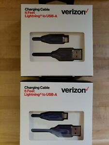 Two 6 Feet Verizon Wireless USB-A cords