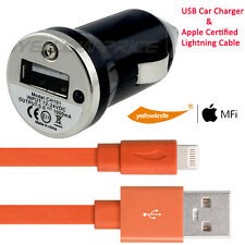 Apple iPhone SE 6S 5 iPad Certified Lightning to USB Cable Car Power Charger
