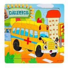 Kids Girls Boys 16 Pieces Wooden Jigsaw Toys Education & Learning Puzzles Toys