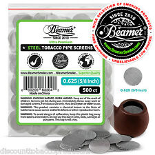 """500 Beamer Stainless Steel Tobacco Smoking Pipe Screens .625""""Compr2 Glass, Brass"""