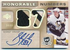 SIDNEY CROSBY 2005/06 UD THE CUP RC HONORABLE NUMBERS AUTO 3 COLOR PATCH SP #/87