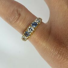 750 18ct Gold Diamond & Sapphire Half Eternity Ring - Size K 1/2 - 3.1g 1 Carat