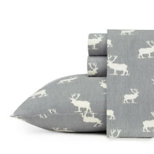 Gray Grey White Elk Moose 4 pc Cotton Flannel Sheet Set Twin Full Queen King Bed
