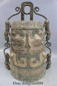 "27"" Chinese Pure Bronze Ware Sliver Dragon Beast Zhong Bell Clock Statue"