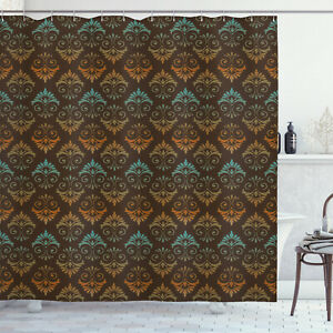 Cloth Shower Curtain Printed Waterproof Fabric Set with Hooks Ambesonne