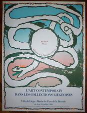 Alechinsky Pierre affiche originale 80 Art Abstrait Liège Cobra abstraction