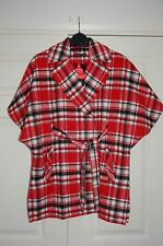 New Definitions Sz 12 Red Cream Black Check Light Wool Blanket Coat Jacket Cape