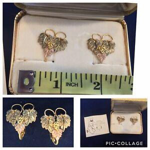 Vintage Landstrom Black Hills Gold Clip on Earrings Grape Leaves 2cm   (F1)