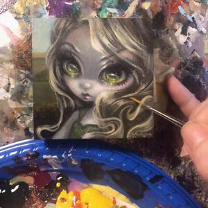 Tiny Treasure 186 Jasmine Becket-Griffith ORIGINAL PAINTING big eyes fairy art