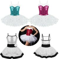 Girls Ballet Dance Tutu Dress Sequins Mesh Dancewear Costume Gymnastics Leotard