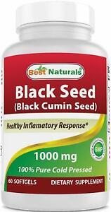 Black Seed Oil Capsules 1000 mg Non-GMO) Nigella Sativa 60 Capsules
