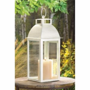 """Sleek Contemporary Candle Lantern Distressed Ivory w/ Clear Glass 13"""" High"""