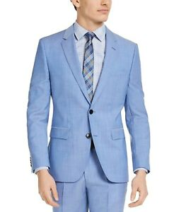 HUGO BOSS Men's Modern-Fit Light Blue Solid Wool Suit Jacket 48R