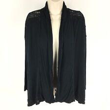Soma Women's Cardigan Waterfall Black Lace Lagenlook Open Long Sleeve Sz Medium
