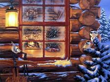 "Darrell Bush ""Winters Retreat"" Chickadees and Cabin Print  Image 18.5"" x 13.5"""