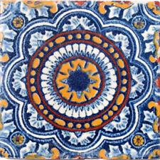 #C055) Mexican Tile sample Ceramic Handmade 4x4 inch, GET MANY AS YOU NEED !!