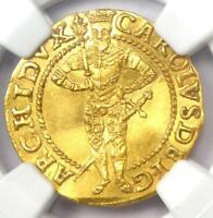 1590 Austria Archduke Karl Klagenfurt Gold Ducat. NGC Uncirculated Detail UNC MS