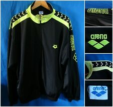 ARENA FELPA VINTAGE TRACKTOP JACKET BLACK YELLOW NEON HIPSTER GABBER (FITS XL)