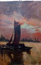 """1906 Ölgemälde 20x28 Segelboot boot Schiff See signiert """"E.ST."""" initialien 19.Jh"""