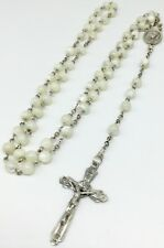 Vintage Chapel Sterling Silver OLRM Catholic Rosary White Glass Beads