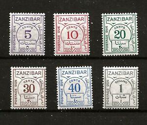 ZANZIBAR  (Z304) 1936 SG D25-30 ORDINARY PAPER FULL SET OF 6 VERY FINE UMM / MNH