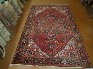 Antique Heriz rug estate lovely carpet 8'2'' x 12'8'' circa 1960s