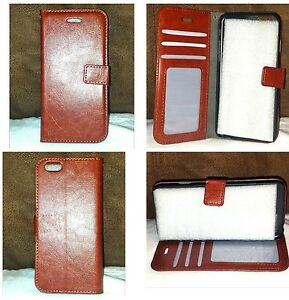 NEW☆ Iphone 6 / 6S ☆ Wallet Card Case w Stand ~ Faux Leather ~ Brown ~ Slim Flip
