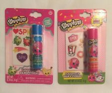 Shopkins Flavored Lip Balm & Stickers Bundle Donut Scented & D'Lish