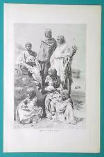 AFRICA Egypt Sudan Group of Nubian Women Costume - 1892 Antique Print