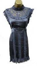 Lipsy Gothic Victorian Lace Dress 12 High Neck Grey Silky Ruffle Goth Party Club
