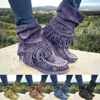 Women's Retro Winter Casual Round Flat Toe New Tassel Suede Ankle Boots Fashion