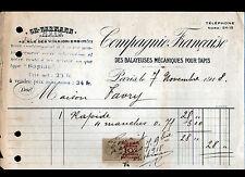 """PARIS (X°) Cie Française des BALAYEUSES pour TAPIS """"Ch. HERMANN""""  en 1918"""