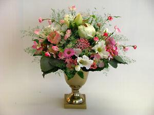 Strauß Blumen Seidenblumen Rose Mohn Cosmea Beeren weiß rosa