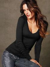 Womens Basic Long Sleeve Shirt Ladies V Neck Plain T-shirt Thin Tee Slim Top USA