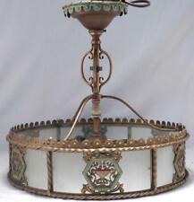 Vintage~Antique c1930 Art Deco Brass Hanging Lamp~Light~Orig Paint & Parts~VGC