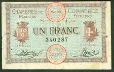 NECESSITE 1 FRANC CHAMBRE de COMMERCE DE MACON BOURG ETAT : TTB  Lot 379