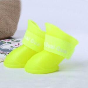 4 Pcs Pet Supplies Dog Cats Anti-Slip Waterproof Shoes Solid Color Rain Boots