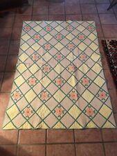Antique Appliqué Flower Quilt Fantastic Fine Quilting AllOver Hand Made Stitched
