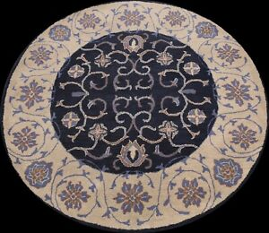 Traditional Floral Oriental Area Rug Hand-Tufted Wool Navy Blue Carpet 6x6 Round