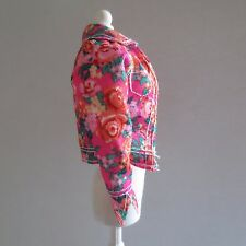 NEW Barbie Style Glam Luxe Doll Pink Orange Floral Denim Jacket ~ Clothing