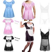 Mens Maid Lingerie Satin Frilly Crossdressing Dress Nightwear Underwear Roleplay