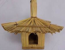 New listing Square Tropical Thatched Roof Birdhouse Wood Bamboo Hanging 8 in H 9 in L New