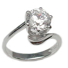 anillo SOLITARIO de oro blanco 18 kt. con circonita talla brillante 1 ct.,20