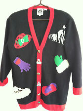 Ladies Christmas Cardigan Sweater L Large Red Hat Gloves Mittens Ugly