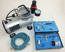 AIRBRUSH KIT - MINI PISTON COMPRESSOR & TWO DUAL ACTION AIRBRUSHES - UK SUPPLIER